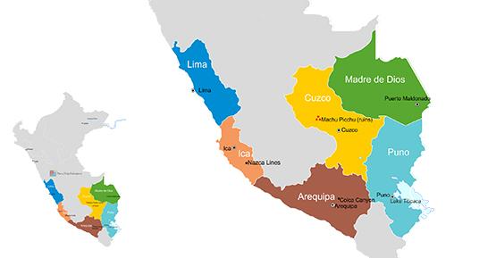 Map to Peru