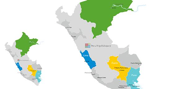 Travel map to Peru